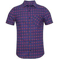 NUTEXROL Men's Western Slim Fit Cotton Short Sleeve Plaid Flannel Shirt