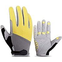 手袋、自転車用手袋サイクリングすべての男性と女性のオートバイの屋外機器のスポーツタッチスクリーン通気性の滑り止めショックアブソーバグローブ-Medium,黄