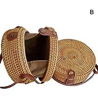 Portonss Women Handwoven Round Straw Bag Summer Rattan Handbags Handmade Woven Beach Shoulder Bags
