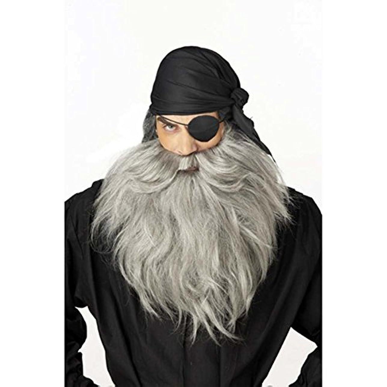 壊すリストアラブ人Pirate Beard and Moustache - Grey 海賊ひげとヒゲ-グレー?ハロウィン?サイズ:One-Size