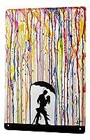 なまけ者雑貨屋 Retro Dance Couple rain ブリキ看板 壁飾り レトロなデザインボード ポストカード サインプレート 【20×30cm】