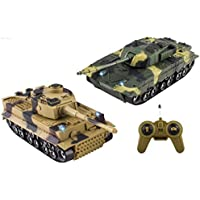 WolVol (Includes 2 Sets) Remote Control Military Combat Fighter Tanks with Lights and Sounds for Kids (Option to turn off sounds while in action) [並行輸入品]