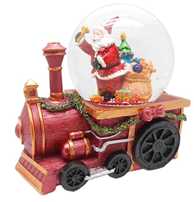 ポリエステル樹脂Lightahead 100 mm Santa With Gifts音楽水ボールSnow Globe on a Trainエンジン、with the insideフィギュアRevolving、