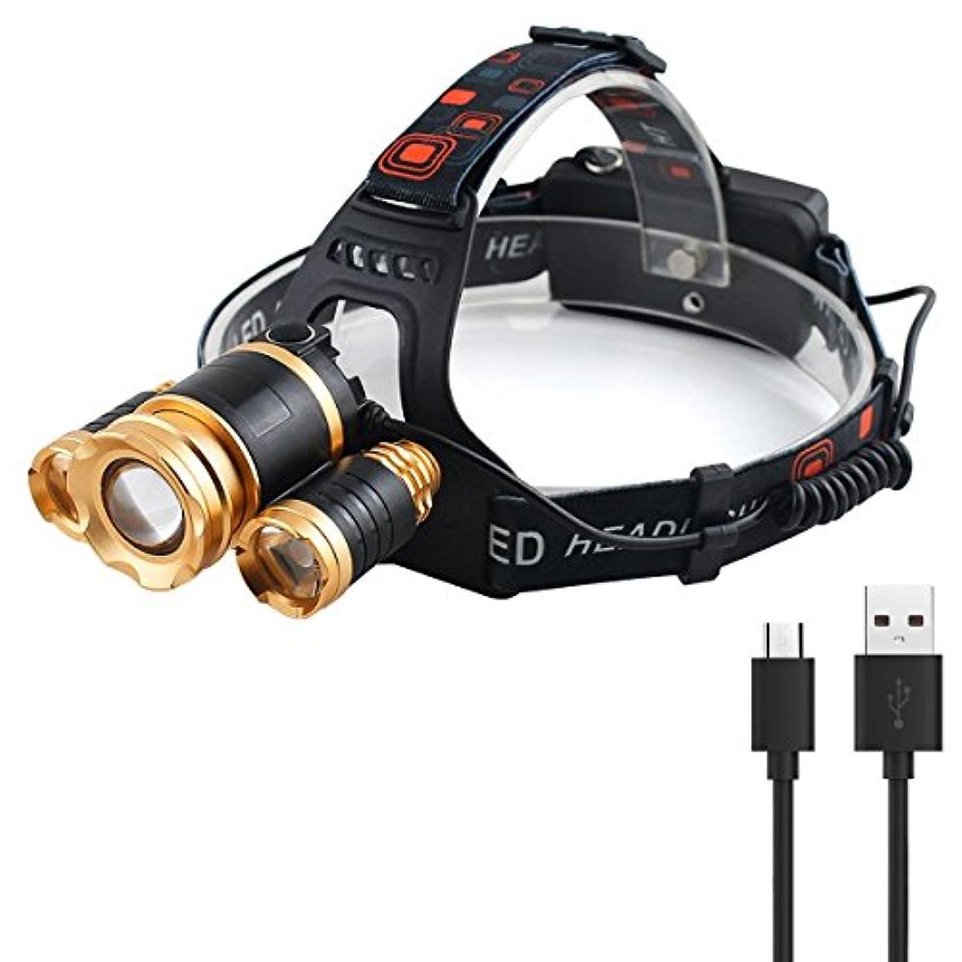 デッキポテトインサート超高輝度 ヘッドランプ 3つLEDチップ フォーカス調整可調整可 USB充電式 4モード点灯 18650電池×2本 防災 登山 夜釣り