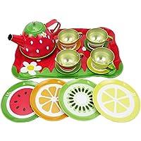 Nature Garden Picnic Tin Tea Party Set for Kids - Metal Teapot and Cups Kitchen Playset