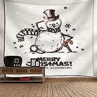 ホームデコレーションのための冬のタペストリータペストリーハンギングクリスマスタペストリー雪だるまタペストリーウォールをBLING(59「×51」),E