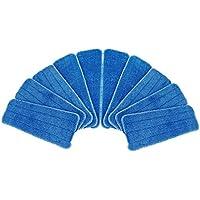 Petforu 貼り付け式 マイクロファイバー製モップヘッド 交換用 ブルー 10枚セット
