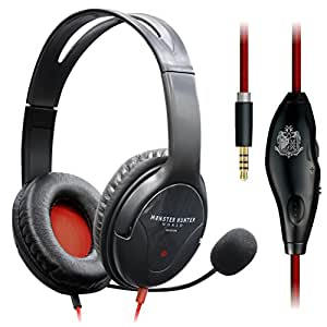 エレコム×モンスターハンター:ワールド コラボ 4極ヘッドセットマイク 両耳オーバーヘッド 1.0m PS4専用 ブラック HS-MHW02BK