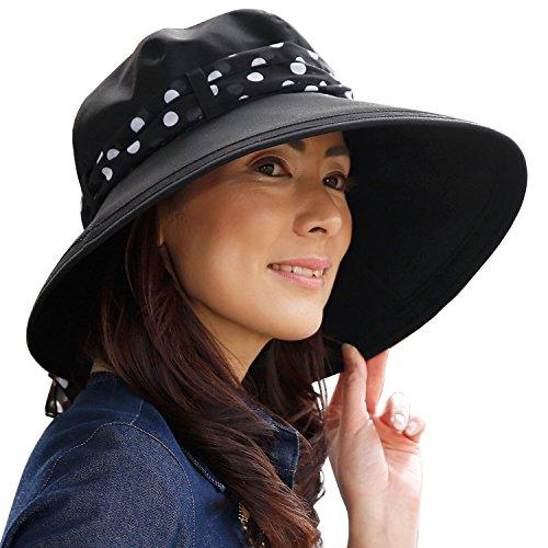 RoseBlanc(ロサブラン)100%完全遮光帽子NEWシフォンシャンブレー(ドットブラック)