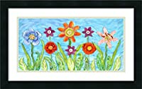 アートフレーム印刷' Flower Play I ' by Kaeli Smith Size: 24 x 15 (Approx), Matted ブルー 3817148