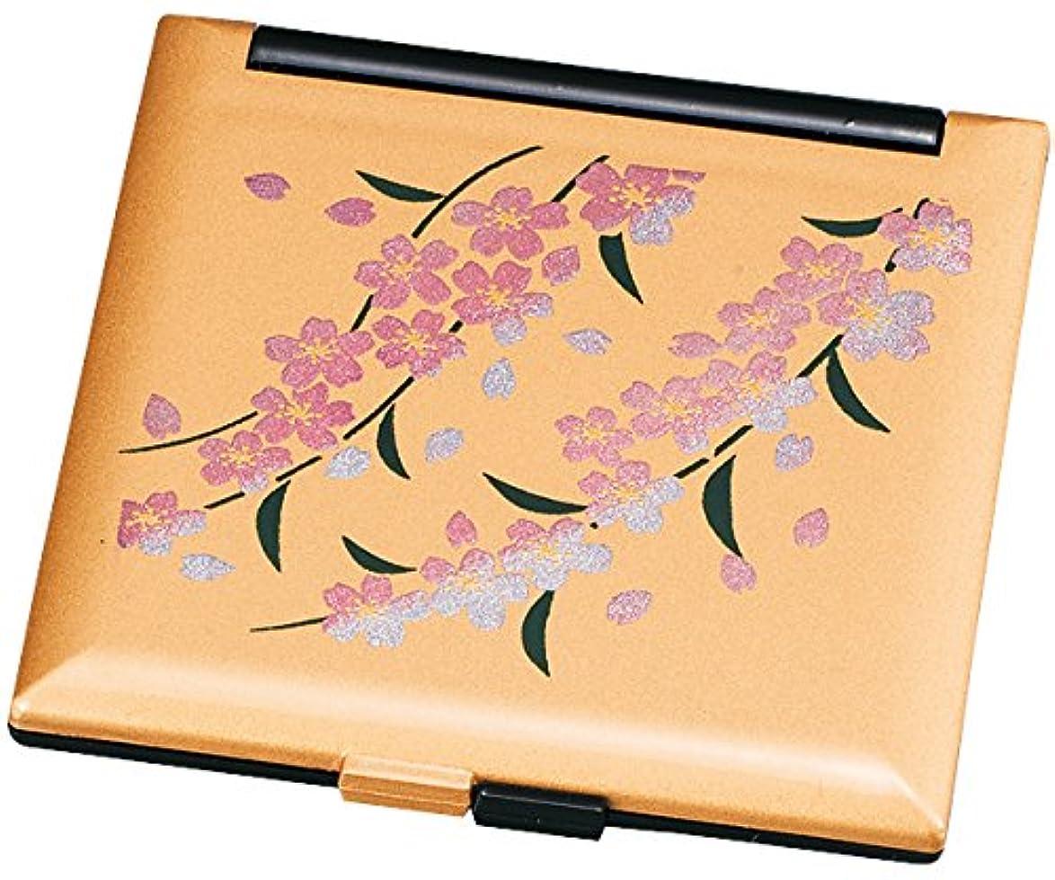 スクランブル開いた硬い中谷兄弟商会 山中漆器 コンパクトミラー 金色 桜33-0413