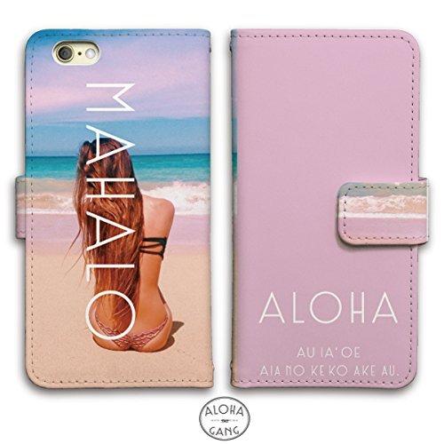 iPhoneX ケース 手帳型 HAWAIIAN サーフ ビーチ レザー (D)