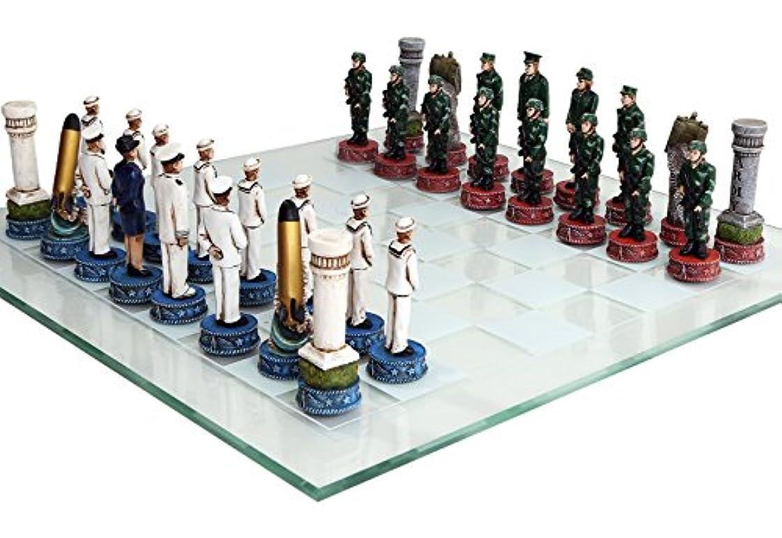 のためにしおれたストレスUS Army vs Navy Military Chess Set Hand Painted with Glass Board