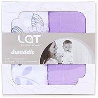 LAT(リー·アンド·タウン) ガーゼおくるみ 高級ベビー用ソフトモスリン ブランケット(多機能) Baby Muslin Swaddle Blanket 2枚セット コットン100% (紫)