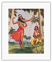 ハワイのクリスマスフラ - ディナーメニューカバー - ビンテージなハワイアンなメニューの表紙 c.1938 - キャンバスアート - 28cm x 36cm キャンバスアート(ロール)