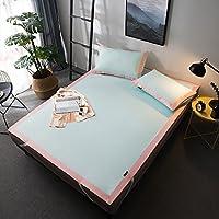 ベッドマシンのための夏の冷却マットレスセットウォッシャブルスリーピングマットレス折り畳み式,Light-blue,King