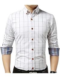 Keaac メンズ長袖チェックボタンダウンドレスカジュアルシャツ