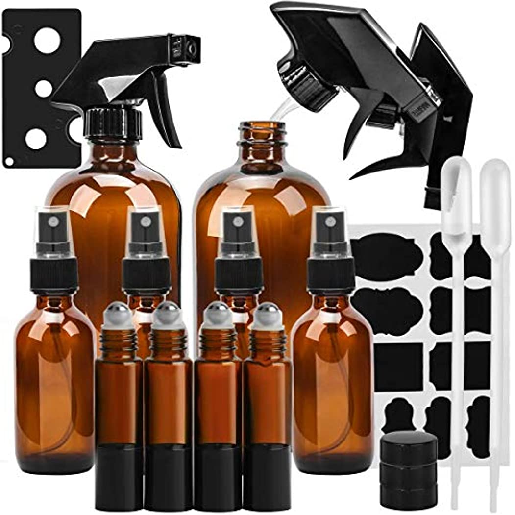 報酬の幸運宇宙のKAMOTA 16オンス×2 2オンス×4 10ミリリットルローラーボトル×4 - 製品やアロマテラピーを清掃エッセンシャルオイル 用 詰め替え容器 セットガラススプレーボトルアンバーガラススプレーボトル アンバー-2