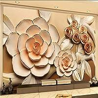 Wxmca カスタム3Dステレオレリーフローズ写真壁画壁紙リビングルームテレビソファ背景壁家の装飾壁紙花-200X140Cm