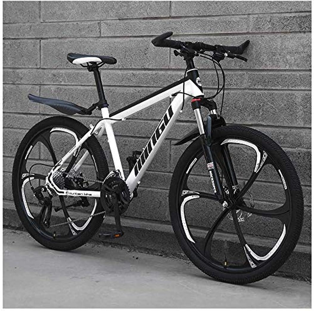 速報行き当たりばったり空虚24インチメンズマウンテンバイク、高炭素鋼ハードテイルマウンテンバイク、フロントサスペンションアジャスタブルシート付きマウンテン自転車,White 6 spoke,21 Speed
