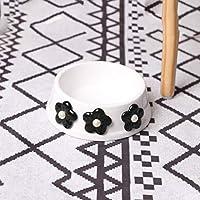 PLL 小さな花のモデリングセラミックボウルペット用品ペットボウル犬のボウル猫のボウル (Color : White)