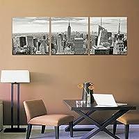 CyiohArt - 3パネル都市景観の建物壁画を描く - ニューヨークシティビルディング - キャンバスアートホームインテリア - 40x40cm