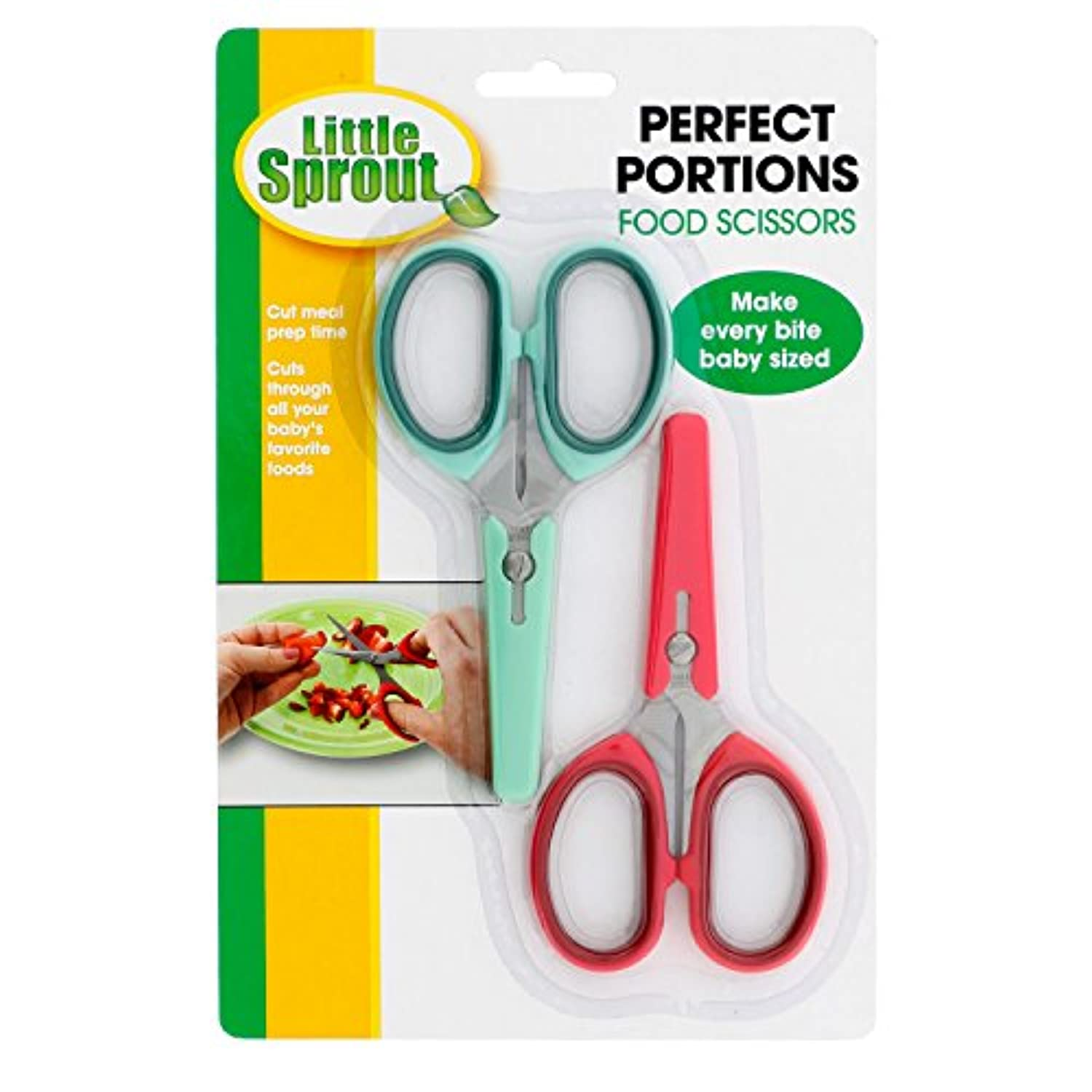 Baby Food Scissors with Covers - Set of 2 Shears to Make Every Bite Baby Sized by Little Sprout
