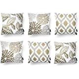 Modern Homes Brown 100% Cotton Decorative Floral Throw Pillow Covers/Cushion Covers 40x40 cm for Sofa, Bed; Set of 6 (Coffee,
