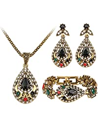 ETbotu Antique Gold Plated Jewelry Set Crystal Pendant Necklace Drop Earrings Bracelet 3 Pieces For Women