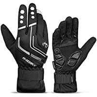 INBIKE Men's Windproof Reflective Ultra Thermal Cycling Bike Gloves with Thick Gel Padding Black Large