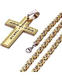 mecooメンズサージカルスチールフィリグリー十字架ペンダントwith chain22
