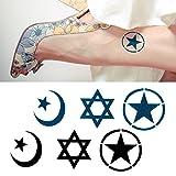 【 2枚セット 】 タトゥー シール 2枚 セット ミリタリー スター & ヘキサグラム & ムーン 六芒 星 スター 月 tatoo