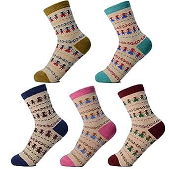 hohire 女性 靴下 22~24cm ウールソックス 厚手 5足組 秋冬用 保温性抜群 むれにくい 暖かい ガールズ スポーツ 登山 トレッキング