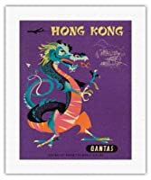 香港 - カンタス航空 - 中国の宝ドラゴン - ビンテージな航空会社のポスター によって作成された ハリー・ロジャース c.1960s - キャンバスアート - 41cm x 51cm キャンバスアート(ロール)