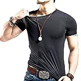 Timber Home (ティンバーホーム) メンズ 無地 半袖 tシャツ おしゃれ 速乾 ボディフィット ワイルド カットソー 丸首 綿 黒 (クルーネック ブラック XXL)