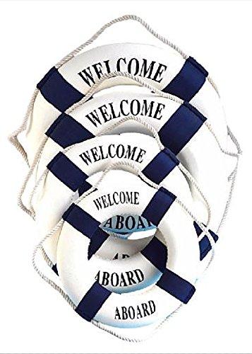 RoomClip商品情報 - マリン テイスト 地中海 風 インテリア 雑貨 壁掛け 浮き輪 ブイ 青 30cm x 1個