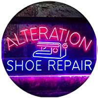 Alteration Shoe Repair Dual Color LED看板 ネオンプレート サイン 標識 赤色 + 青色 400 x 300mm st6s43-i3501-rb