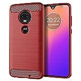 MeetJP Motorola Moto G7 シェル, 保護 スリム シェル 電話ケーススリム ハイインパクト 防? 耐衝撃性 保護 バックケース の Motorola Moto G7 - (Red