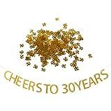 Fenteer 30歳 誕生日パーティー 飾り 煌く CHEERS TO 30YEARS バンティング & 30の形 テーブル コンフェッティ ゴールド