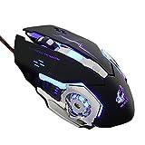 1stモール ウォーリア LED搭載 有線 ゲーミング マウス 光学式 静音 4000dpi 5段調節 6ボタン 高速 クリック Windows Vista/10/8/7 Mac WARMOUSE ST-WARMOUSE