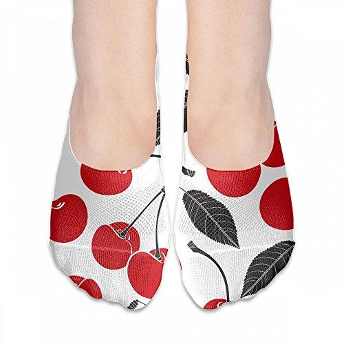 ソックス 靴下 スニーカーソックス レディース フットカバー 果物 サクランボ柄 抗菌 ショートソックス くるぶし 浅履きタイプ