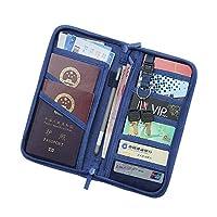パスポートケース 海外旅行などに役立つ収納便利ポーチ! (ネイビー)