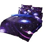 (コズミックツリー) COSMIC TREE 宇宙に包まれて眠る 惑星 宇宙 ベット シーツ 布団カバー 枕カバー セット 選べる シングル ダブル 宇宙 コスモ 宇宙スペース 雑貨 高品質プリント (シングルセット, ミッドブルー)