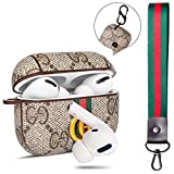 Designer Airpods Pro Case Cover : Giayouneer Leather Luxury Classic Wireless Charging Pro Case with Keychain Clip and Wristlet Strap Accessories Kit for Apple AirPods 3 (Beige-PRO)