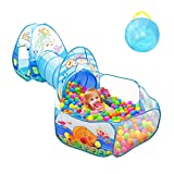 キッズテント 3点セットの子供テント トンネル・バスケットネット付きのボールプール 折り畳み式 誕生日 出産祝い プレゼント 秘密基地 おもちゃ(水色)