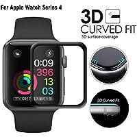 Apple Watch Series 4 44mm 強化ガラスフィルム 全面保護 Qosea 3D曲面デザイン 専用液晶 気泡ゼロ 99% 高透過率 硬度9H 指紋防止 飛散防止耐衝撃 ブラック