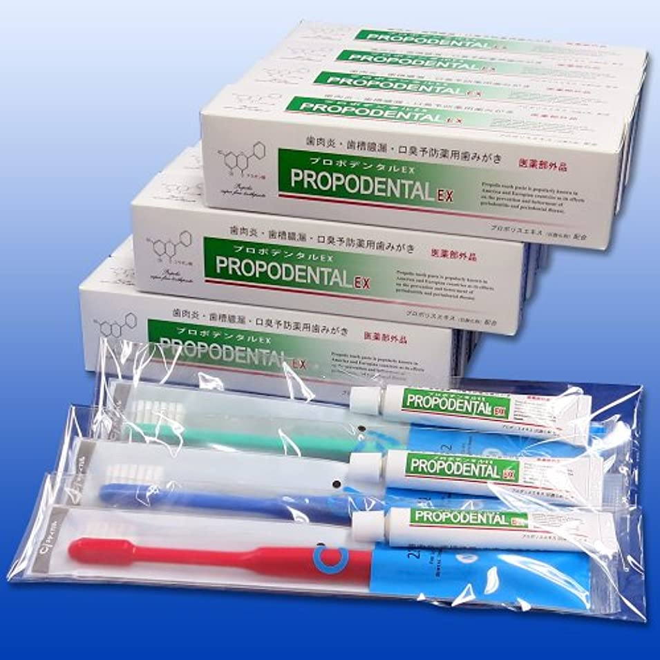 アサート交流する不承認プロポデンタルEX(80g)12本セット+ハブラシセット 3セット【歯周病】歯磨き粉 プロポリス配合薬用歯みがき 口臭ケア