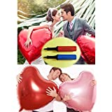 Aharan9(???????) 60cm ハート 風船 アルミバルーン ピンク5枚×レッド5枚 ポンプ2本 結婚式 誕生日 飾り付け