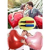 Aharan9(???????) 60cm ハート風船 アルミバルーン ピンク5枚×レッド5枚 ポンプ2本 セットパーティー?結婚式?飾り付け