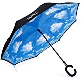KAZOKU 長傘 逆さ傘 逆折り式傘 UVカット 晴雨兼用 手離れC型手元 耐風傘 撥水加工 ビジネス用車用 晴天の空 爽やか 124センチ